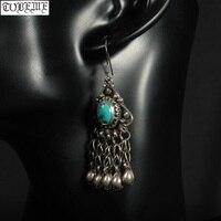 Old Handmade Nepalese 925 Silver Earrings Vintage 925 Sterling Bohemia Women Earrings Tribal Dangle Earrings