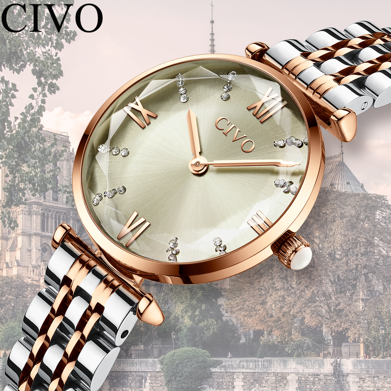 Image 3 - CIVO 2020 Fashion Luxury Ladies Wrist Watches Top Brand Rose Gold Steel Strap Waterproof Womens Bracelet Watch Zegarek DamskiWomens Watches   -