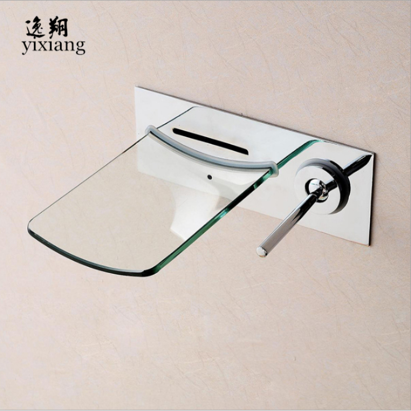 New Arrival Wall Mounted Bathroom sink basin mixer tap Sink Vessel chromed Polished Finish Glass brass glass waterfall Faucet waterfall led brass tap basin sink faucet waterfall bathroom glass mixer polished chrome vessel tap finish 3 colors tree436