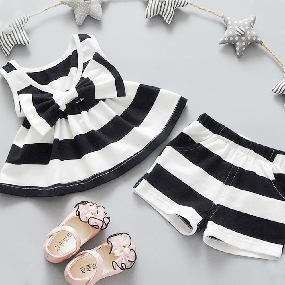 2PCS Newborn1 2 3 4 5 Years Baby Girls Bow tie Tank Tops Vest Striped Sleeveless Dresses + Shorts Pants Clothes Sets Girls New все цены