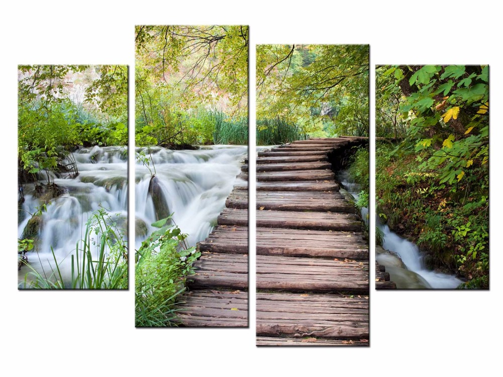4 Pcs Set Nature Pastoral plank road Canvas Painting Wall Picture Decorative Home Wall Decor Modular Paintings JO13 001 in Painting Calligraphy from Home Garden