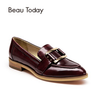 BeauToday Women Loafers Buckle Decorated Pointed Toe Slip On Genuine Cow Leather Spring Autumn Ladies Shoes
