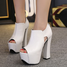 2017 Spring Fashion Sexy Girl White Black Hollow Out Platform Thick High Heels Women Ankle Boots Peep Toe Woman Wedding Shoes