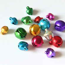 6/8/10MM 100 pcs/lot Mix Colors Loose Beads Small Jingle Bells Christmas Decoration Gift Wholesale  0037