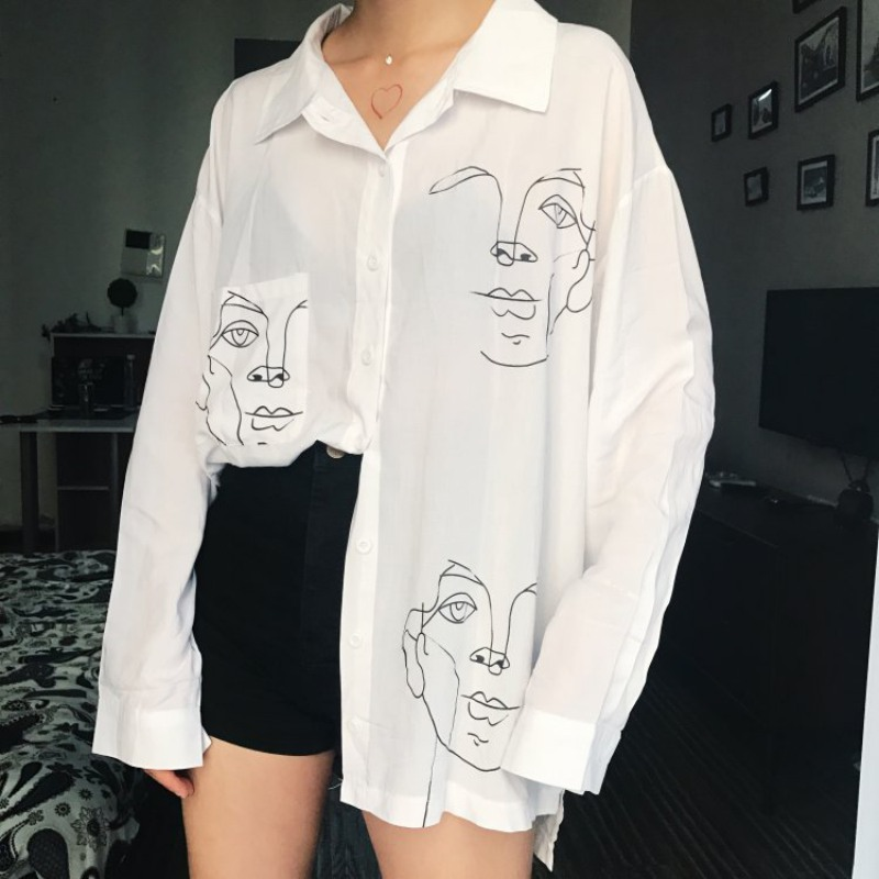 2019 New Long Sleeve Turn-down Collar Oversize Shirt Women Tops Harajuku Face Pattern Printed Shirt Blouse White Tops Streetwear