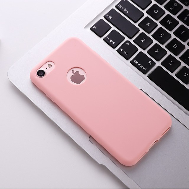 on sale 7084a 08ebb US $1.37 36% OFF|AIKASHI for iPhone8 Plus Cute Candy Pink Color Case for  iPhone XS MAX XR 6 6s 7 Plus 5s SE Soft Silicone Back Cases Plain Cover-in  ...
