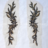 New fashion mixed color heavy handmade beads rihestone patch 60X13 cm embroidered wedding/evening dress lace trim 1 pair