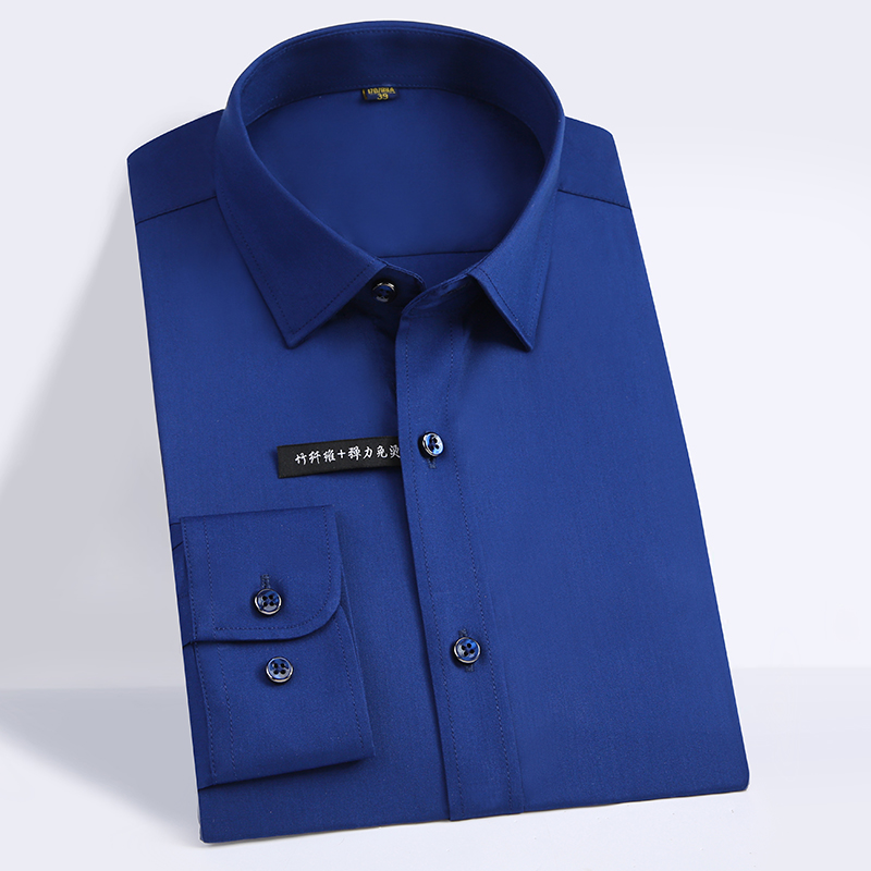 High Quality Classic Style Bamboo Fiber Men Dress Shirt Solid Color Men's Social Shirts Office Wear Easy Care(Regular Fit) 4
