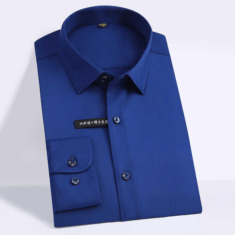 高品質古典的なスタイル竹繊維男性ドレスシャツソリッドカラー男性の社会シャツ事務服簡単ケア (レギュラーフィット)