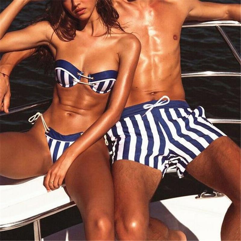 Couple Swimsuit New Arrival Women Bikini Set Men Swimming Trunks Bathing Suit Stripe Bandage Push-Up Padded Bra Beach Wear