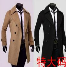 Teenage double breasted casual long woolen coat men trench coats overcoat mens cashmere coat masculino england khaki black 9XL