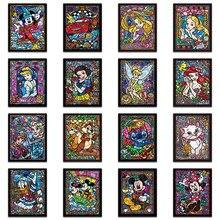 5D DIY Алмазная картина вышивка крестиком мультфильм Мозаика из круглых бриллиантов красочные Дисней полный квадратный вышивка бисером, Животное Искусство #