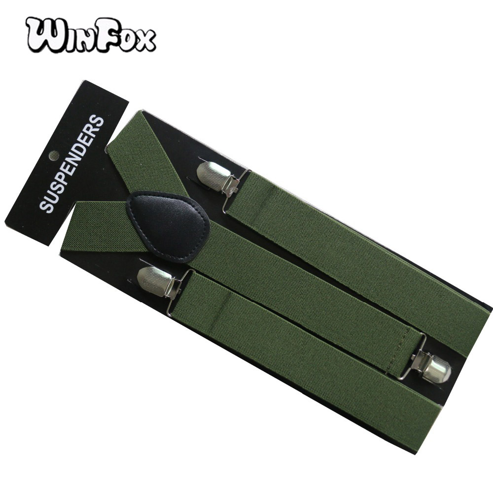 Winfox Vintage Mens Suspenders Braces Wide 3.5cm Arm Green Leather Male Trouser Suspensorio Suspender For Shirt