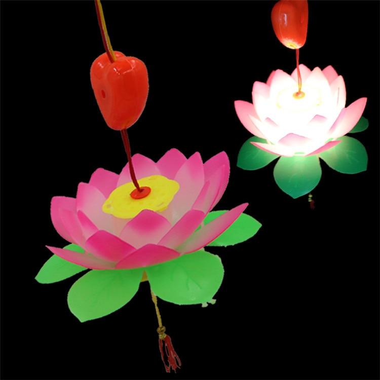 Music electric flash lotus lotus portable lantern Lantern Festival Mid Autumn festival gift toys for children
