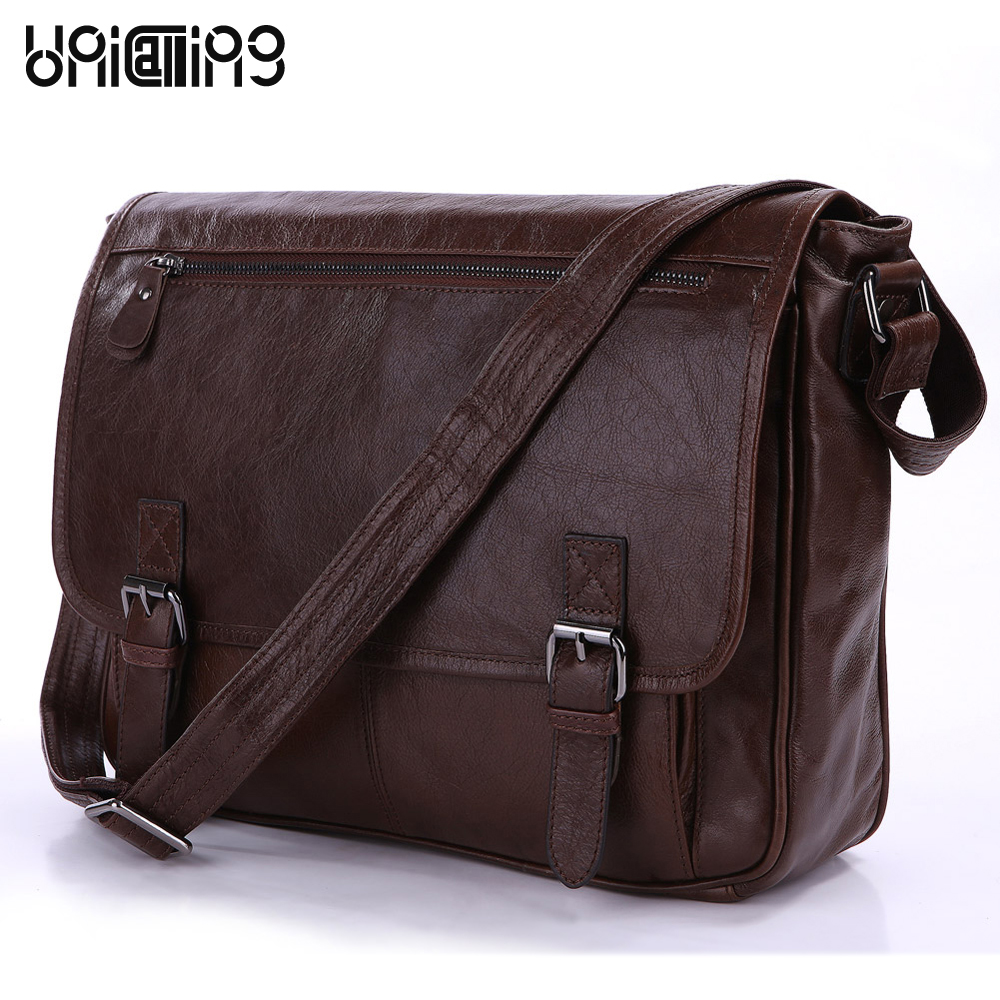 Messenger bag men leather UniCalling fashion quality genuine leather men bag cover casual men leather bag tablet messenger bag unicalling brand men genuine leather bag