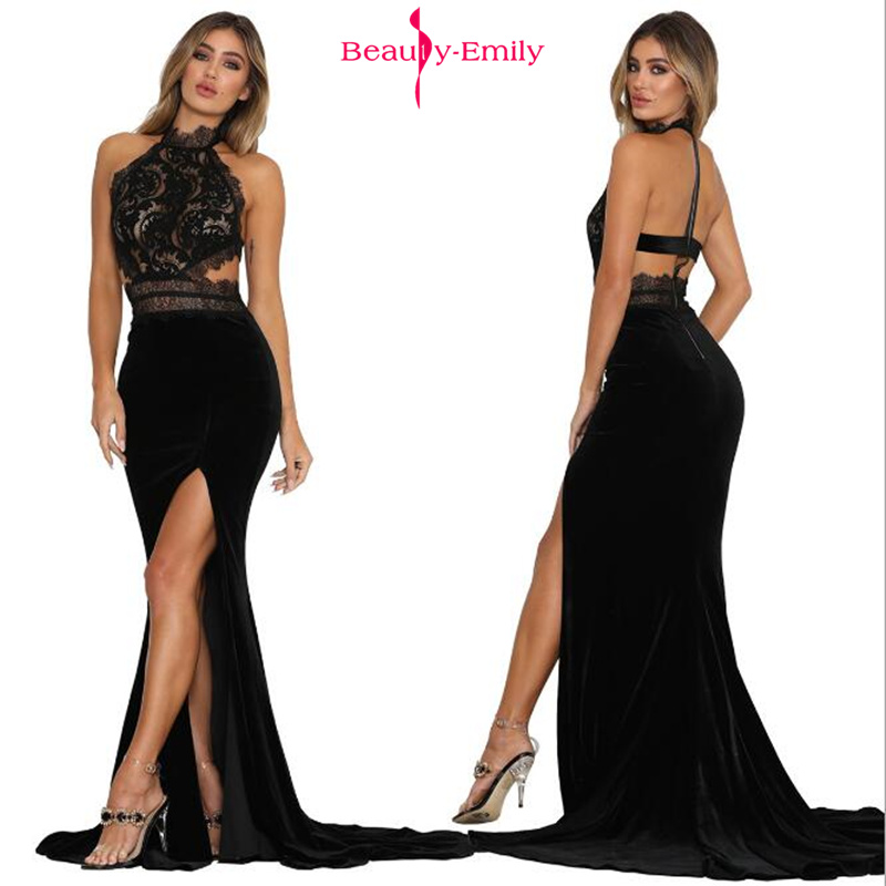 Beauty Emily 2019 Hot Sexy Hanging Neck   Evening     Dresses   Lace Perspective Open Back Party   Dress   Front Split Trailing Prom   Dresses