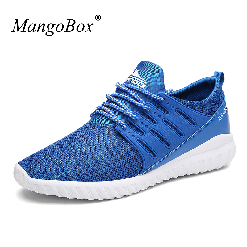 MangoBox New Spring Summer Sport Trainers Blue Gray Men Jogging Shoes Breathable Trail Running Shoes Lightweight Men Sneakers