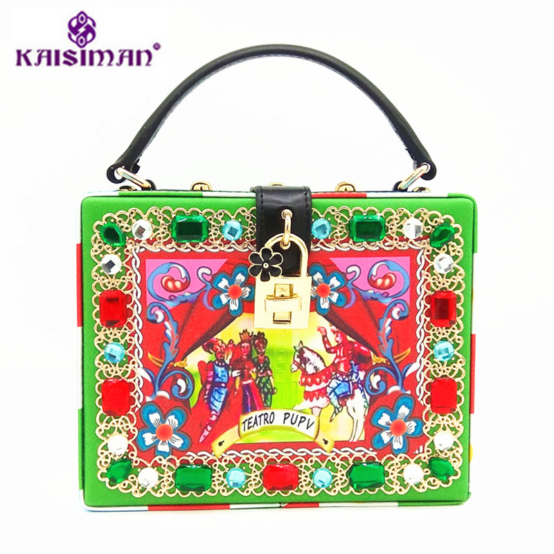 Luxury Brand Ethnic Prince Print Handbags S Leather Women Shoulder Bag Famous Design Diamond Green Red Gem Jewelry Handbag ethnic style tribal print top and mini shorts women s twinset