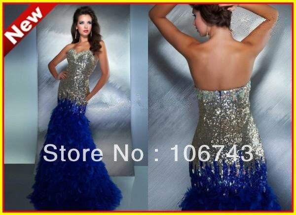 Livraison gratuite 2014 en cristal de luxe sequin plume robe Bretelles Sirène Paillettes Parole Longueur de Soirée De Bal Robe Formelle Robes