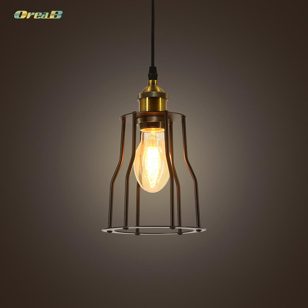 Lustre rétro en fer de Style Vintage pour salle à manger lampe murale à Cage industrielle règlements américains/européens E26/E27