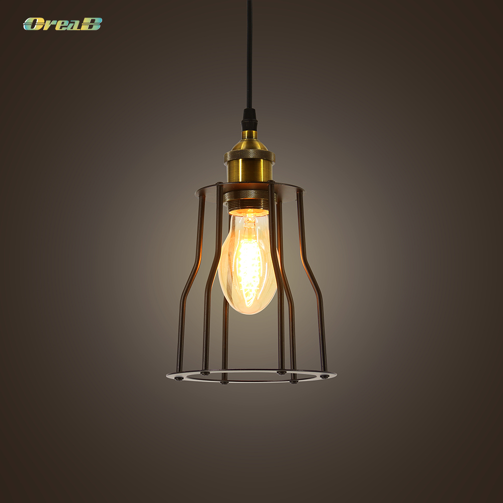 Vintage Style Iron Retro Chandelier For Dining Area Industrial Cage Wall Light Lamp U.S./ European Regulations E26 / E27
