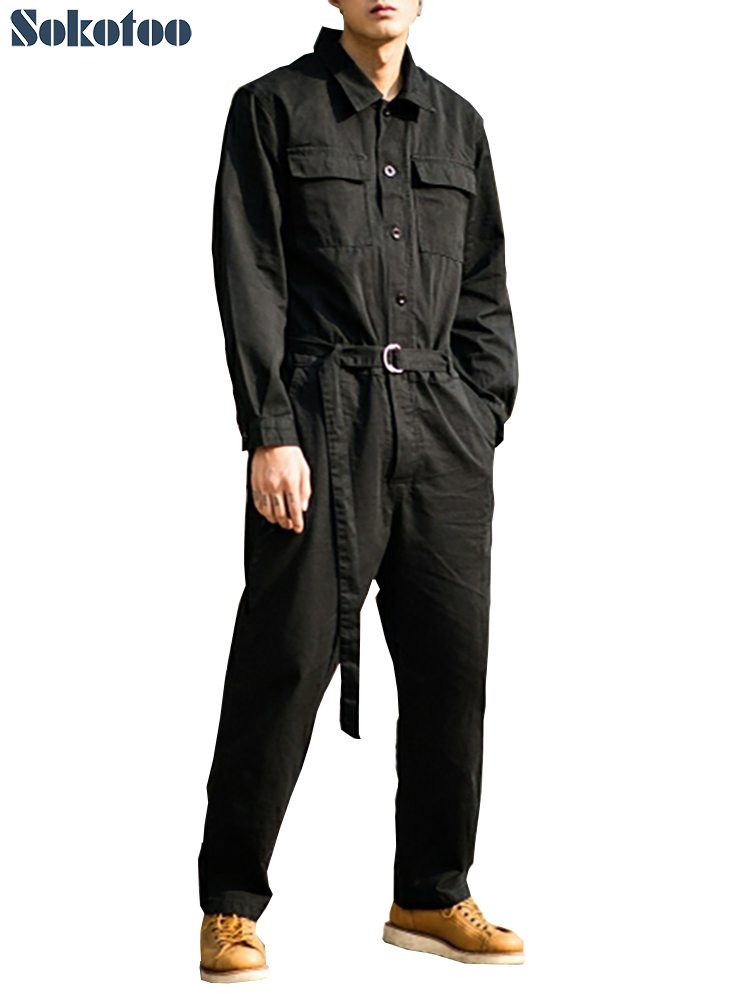 Sokotoo Men's Loose Pockets Cargo Long Sleeve Jumpuits Casual Black Army Green Waistband Overalls Coveralls Set