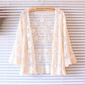 2016 summer cardigan women mori girl sweet flower embroidery cotton lace cardigans feminino