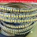 Super Brilho SMD3528 luz de tira conduzida 240led/m DC12V branco frio/warm white led diodo fita fita