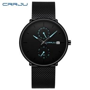 Image 2 - Crrju relojes de moda de hombre de marca superior reloj de cuarzo de lujo Casual delgado de malla de acero impermeable deportivo