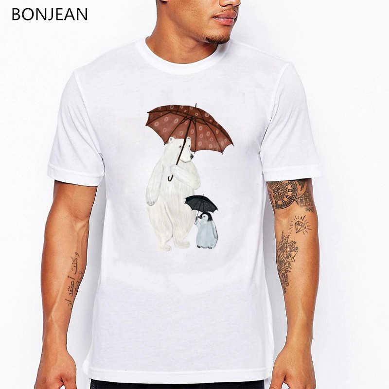 Lucu T Kemeja Beruang Kutub dan Penguin Payung Waktu Dicetak Tshirt Camisetas Hombre Musim Panas Kaos Fashion Homme Atasan
