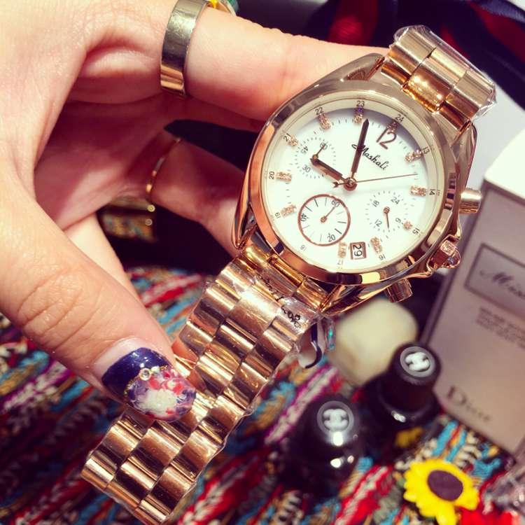 ФОТО 2017 New Luxury Women Watch Rose Gold Stainless Steel Quartz Business Clock Ladies Fashion Calender Watches Relogio Feminino