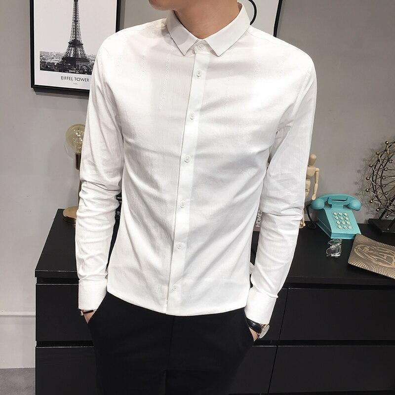 100% QualitäT Top Qualität Männer Kleid Shirt Koreanische Einfache Slim Fit Langarm Smoking Männlichen Hemd Alle Spiel Casual Herren Herren Shirts 3xl-m