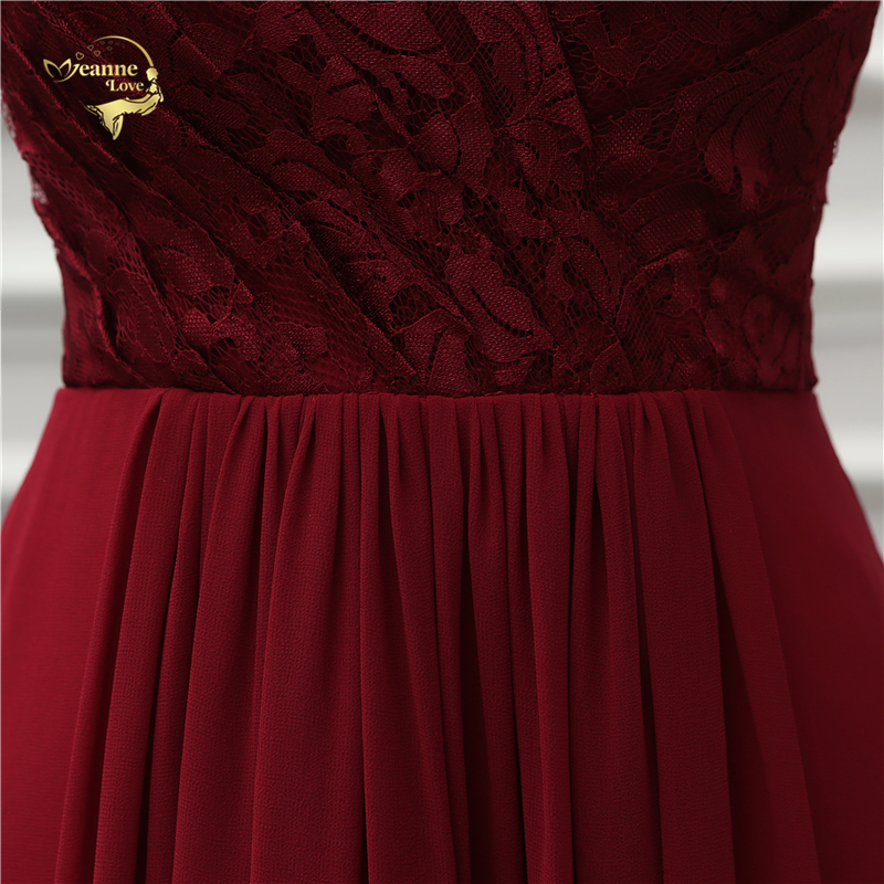 Wine Red Short Sleeves V Neck Lace Chiffon Long Bridesmaid Dress
