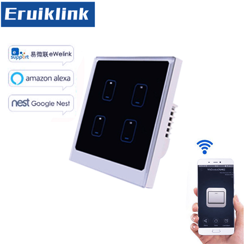 EU/UK Standard eWelink APP Remote Control Light Switch,1/2/3/4 Gang 1 Way Smart Home WiFi Wall Touch Sensor Switch sonoff t1 us smart touch wall switch 1 2 3 gang wifi 315 rf app remote smart home works with amazon free ios and app ewelink
