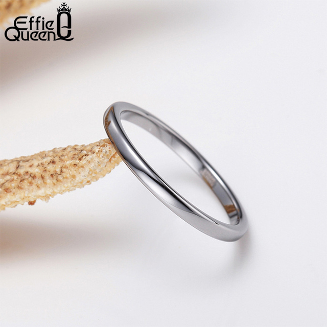 Effie Queen Genuine 925 Sterling Silver Ring for Men Women Couple Rings Wedding Band Female Finger Ring Wholesale Jewelry BR74 2