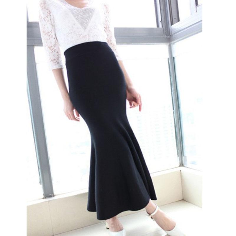 Long Black Knit Skirt