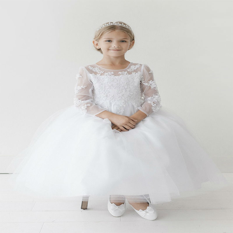 A-Line Princess Flower Girl Dresses With Kids Rhinestones Pageant Dress White Girls Dress Long Sleeve Mother Daughter Dresses