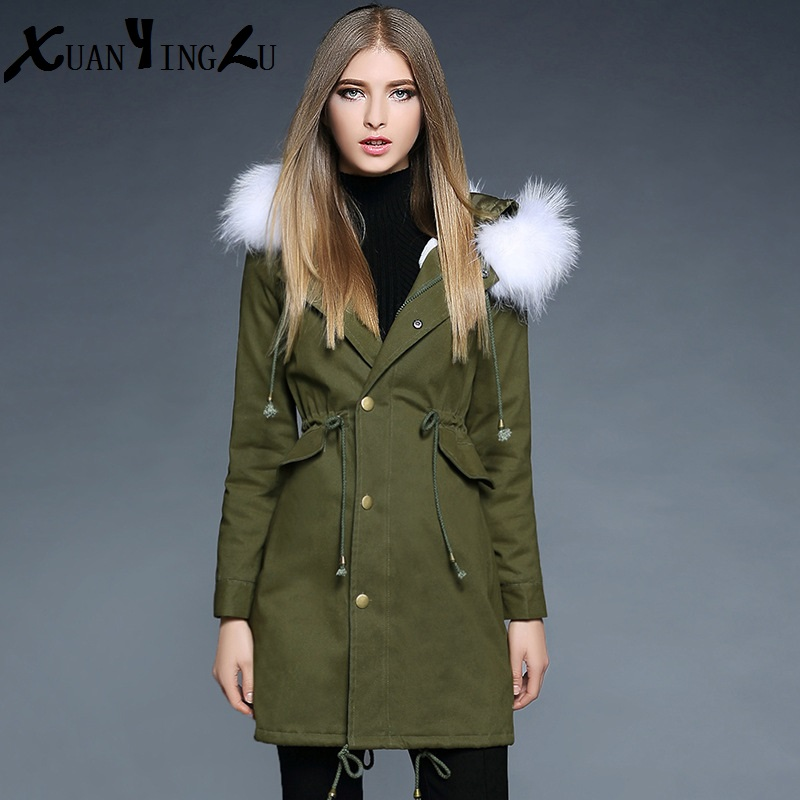 ФОТО XUANYINGLU 2016 New Winter Down Coats High-end fashion brand Long sleeves With a cap Thick Solid color Long section Coat Women