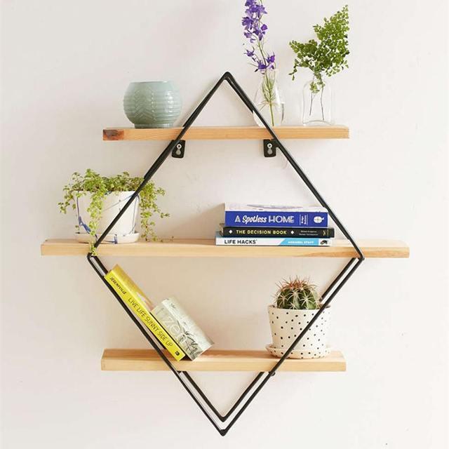 NEW 50x50x19cm Shelf Storage Iron Art Wooden Retro Wall Bookcase Cabinet Door Coat Hanger Storage Rack Organizer
