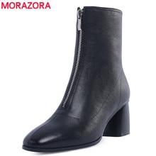 MORAZORA artı boyutu 34 42 yeni marka moda tam hakiki deri çizmeler kadın yüksek topuklu bayanlar yarım çizmeler kadınlar için kış ayakkabı