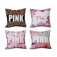 Fashion PINK Series Home Decorative Pillow Covers 45 45cm Satin Fabric Printed Square Cushion Sofa Car