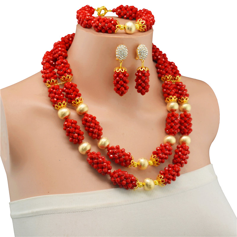 Red African Beads Jewelry Set Crystal Beads Necklace Set Nigerian Wedding African Crystal Beads Jewelry Set 2017-in Jewelry Sets from Jewelry & Accessories    2