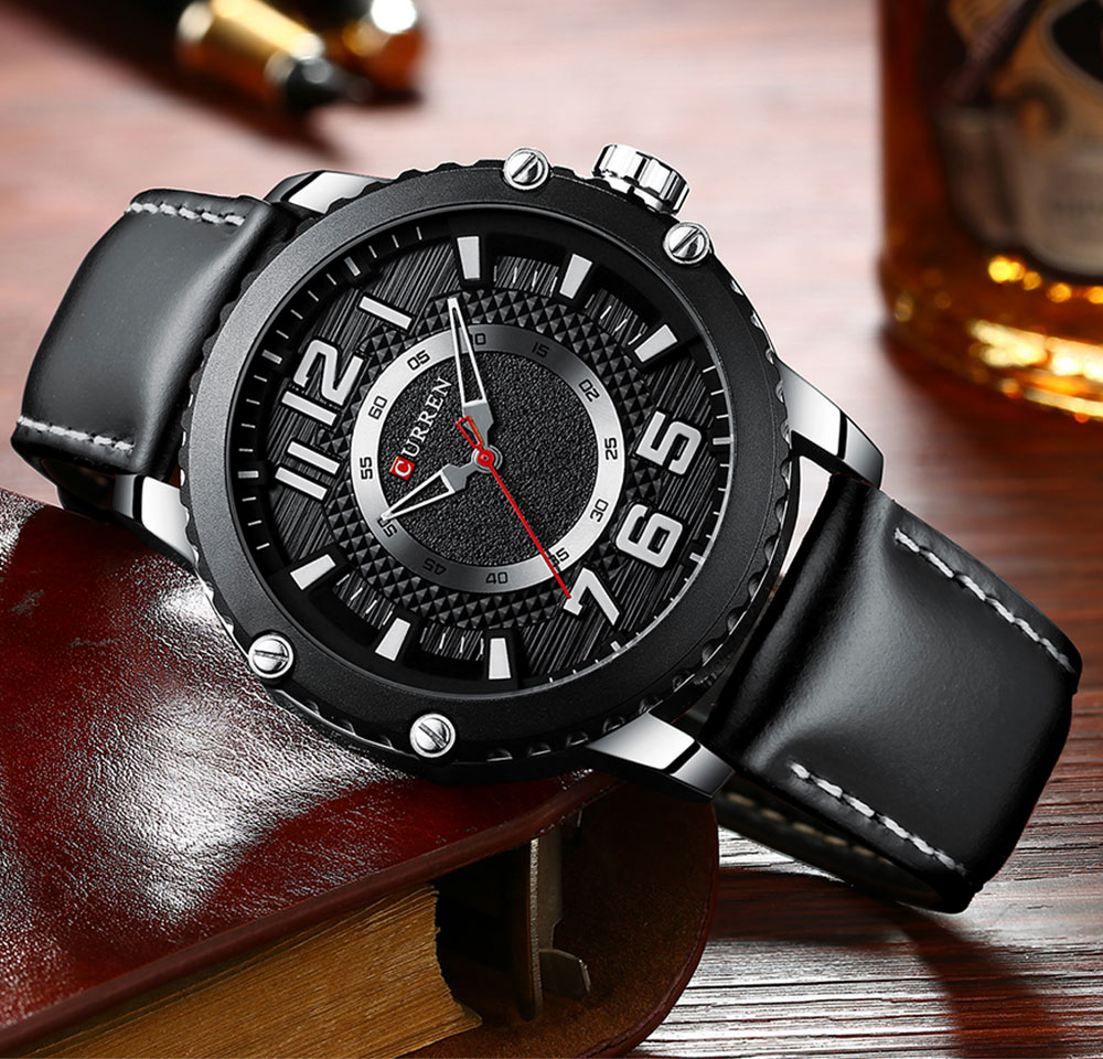 CURREN Casual Leather Watch for Men Style Business Quartz Wristwatches New Relojes Hombre Unique Design Clock Male Watches