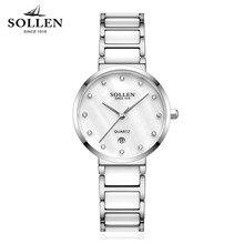 New Ladies Rhinestone Watches luxury Brand SOLLEN Fashion Ceramic Watch Women Stainless steel bracelet quartz WristWatches reloj