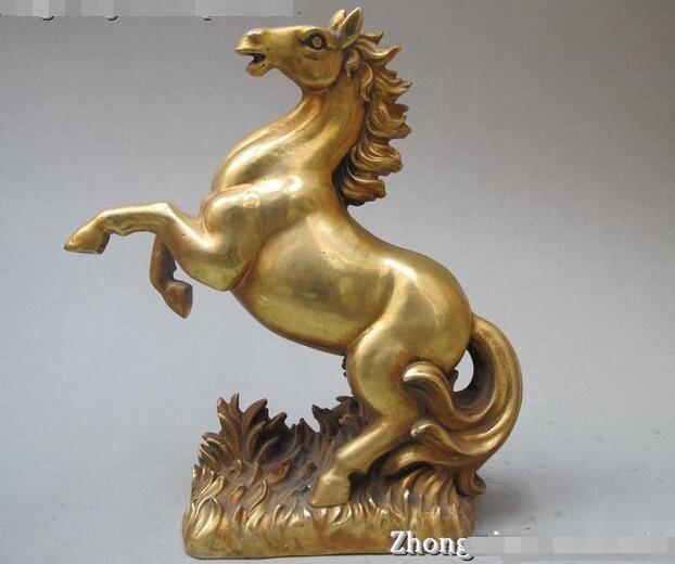 Китайский Изысканный чистой Латуни Резные Удачи Верховая Искусства скульптуры статуя