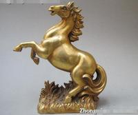 Chinese Refined pure Brass Carved Good Lucky Horse Art statuary statue