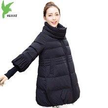 Осень-зима парки для женщин 2018 типа хлопка куртка Большие размеры свободные женские теплая дутая куртка Труба рукава пальто-мантия OKXGNZ2148