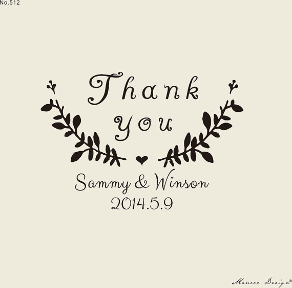 Custom Stamps 2 X1 6 Thank You Rubber Stamp For Personalized Flower