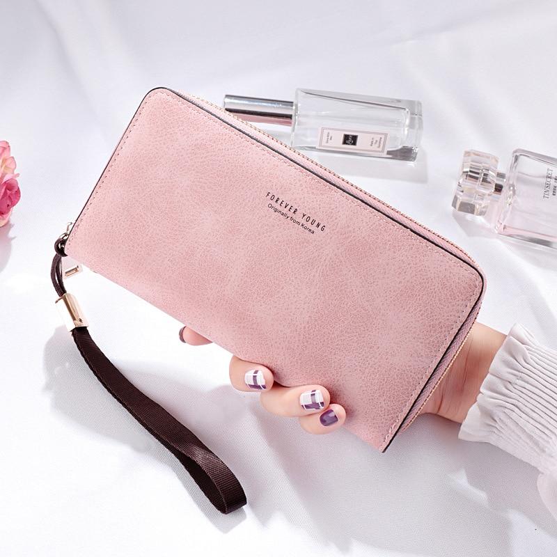 Long Women Wallet Zipper Holder Card Clutch Wallet Female Card Purse Ladies Handbag Retro Design Large Capacity Phone Bag