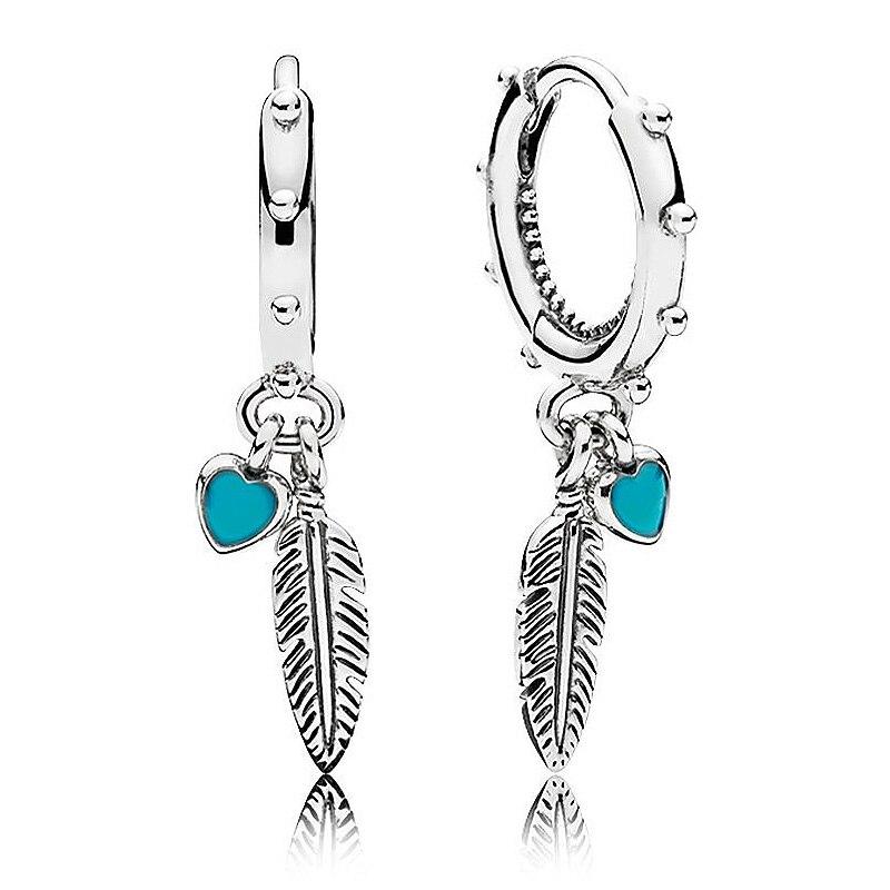 Authentische 925 Sterling Silber Ohrring Spirituelle Federn Hängen Ohrringe Für Frauen Hochzeit Party Geschenk Feine Pandora Schmuck